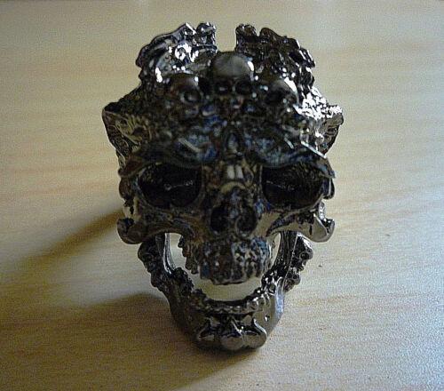 "Self Defense.. /""Skull Ring/"" Titanium Stainless Steel Black Rhodium Plated"