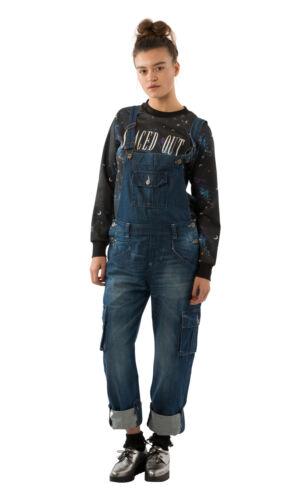 USKEES DAISY Damen-Latzhose Dark Wash Verstellbare Beinlänge Mode Latzhose den