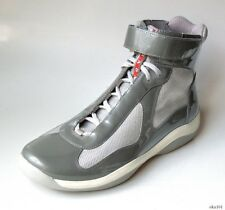new men's PRADA gray silver red LOGO high top sneakers ankle boots 9.5 US 10.5