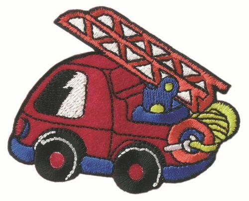 1 aufbügler ♥ perchas motivo ♥ aplicación bomberos auto rojo-azul Patch ♥ nuevo ♥