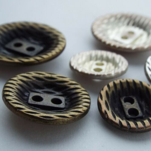 16 20 23mm Metal Hatched Buttons Jacket Jeans Patina Retro Victorian BUY 2 4 8