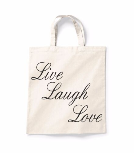Live Laugh Love Quote Canvas Tote Shopping Bag Cotton Printed Shopper Bag Gift