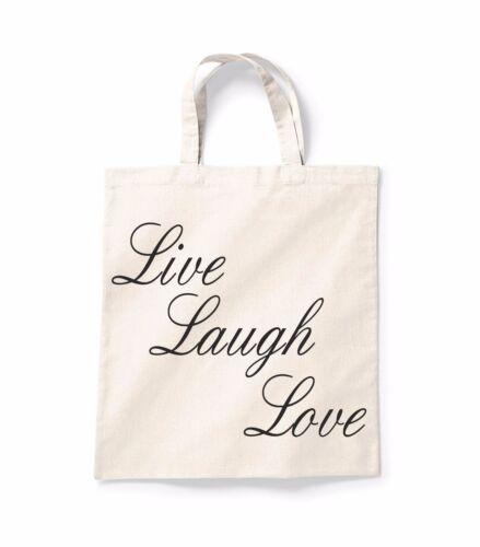 Live Laugh Love cotización De Lona Bolso De Compras Bolso Shopper Bolsa regalo impresos de algodón