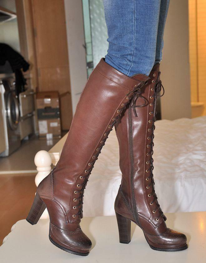Gothic womens knee boot wing tip leather zip high heel platform lace up shoes