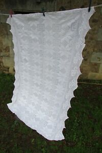 Stunning-Antique-French-Handcrafted-Cotton-Crochet-Bed-Cover-Throw-c1910-4x5ft