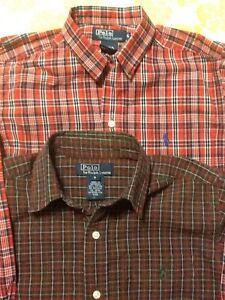 Lot-of-2-Ralph-Lauren-Polo-Button-Down-Shirt-Size-6-Girl-Plaid
