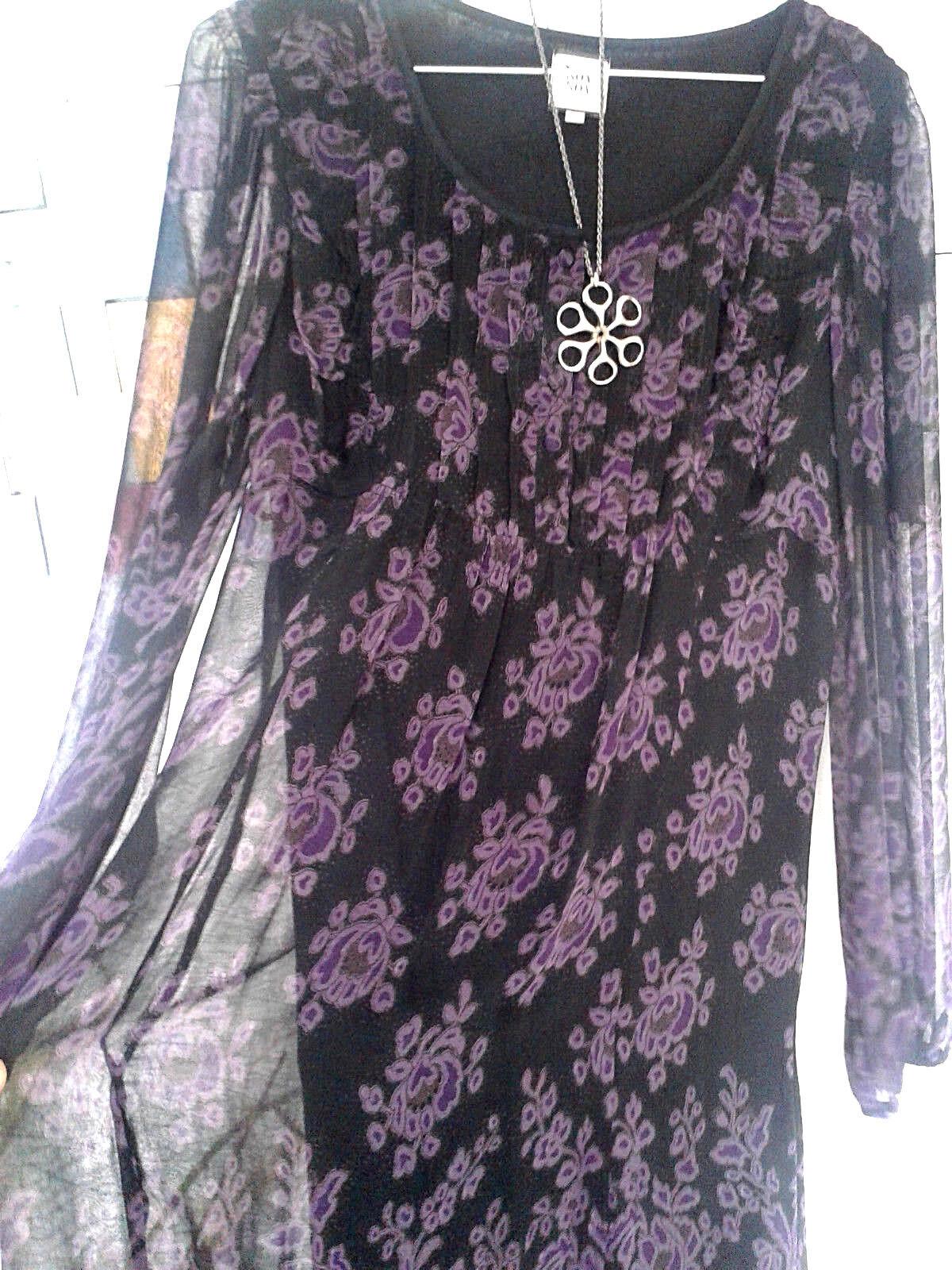 NOA NOA bezauberndes  Kleid Schwarz Lila Blaumenmuster 100% Viskose Gr. S M  G138