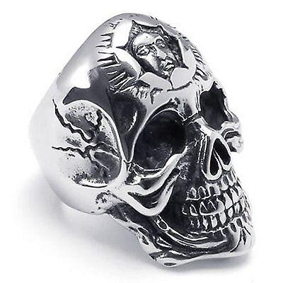 Large Biker Men's Gothic Casted Skull Stainless Steel Ring, Black Silver