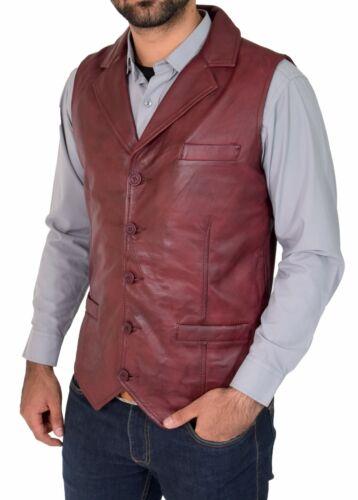 Mens Soft Burgundy Leather Waistcoat Revere Collar Gilet Classic Western Vest
