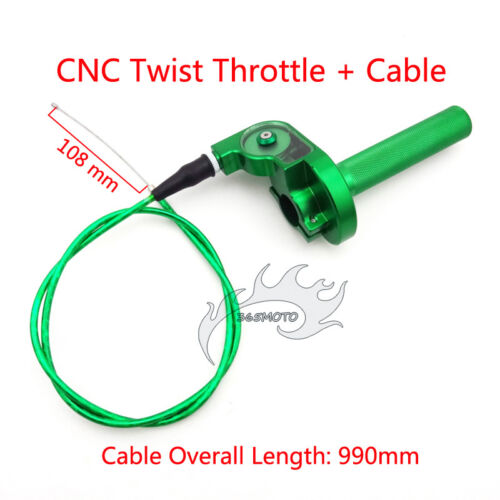 Pit Dirt Bike Green CNC Twist Throttle Cable Assembly For Atomik Thumpstar CRF50