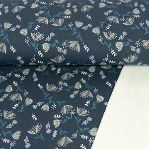 Alpenfleece-Blumenmuster-jeansblau-Modestoffe