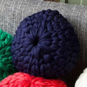 Chunky Knitted Cushion Handmade Candy Round Lumbar Pillow Crochet Home Decor