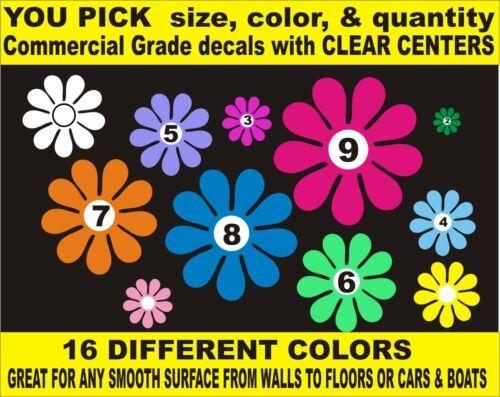 PATTERNSRUS DAISY FLOWER CAR DECALS VINYL CLEAR CENTERS BOAT WINDOW LAPTOP