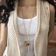 Fashion Jewelry long chain Sweater necklace with Lily Tassel pendant Made in USA