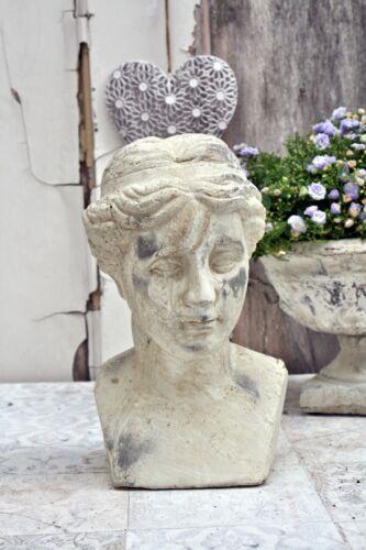 Büste Creme Frauenbüste Skulptur Zement Shabby Antik Vintage Figur