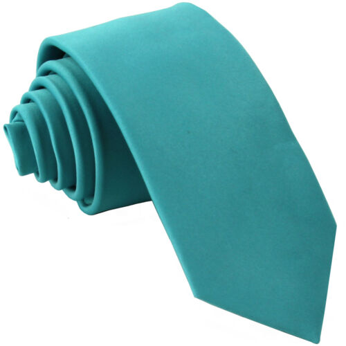 "New Polyester Men/'s 2.5/"" skinny Neck Tie only solid formal wedding aqua blue"