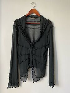 Sandwich-Womens-Size-XL-Black-Cardigan-Sweater-Long-Sleeved-Tie-Front-Mesh-Shirt