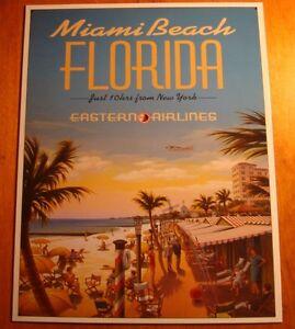 VINTAGE RETRO STYLE MIAMI BEACH TRAVEL EASTERN AIRLINES HOME DECOR ...