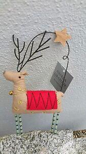 Gisela Graham Christbaumschmuck Rentier Stoff Englische Weihnachten