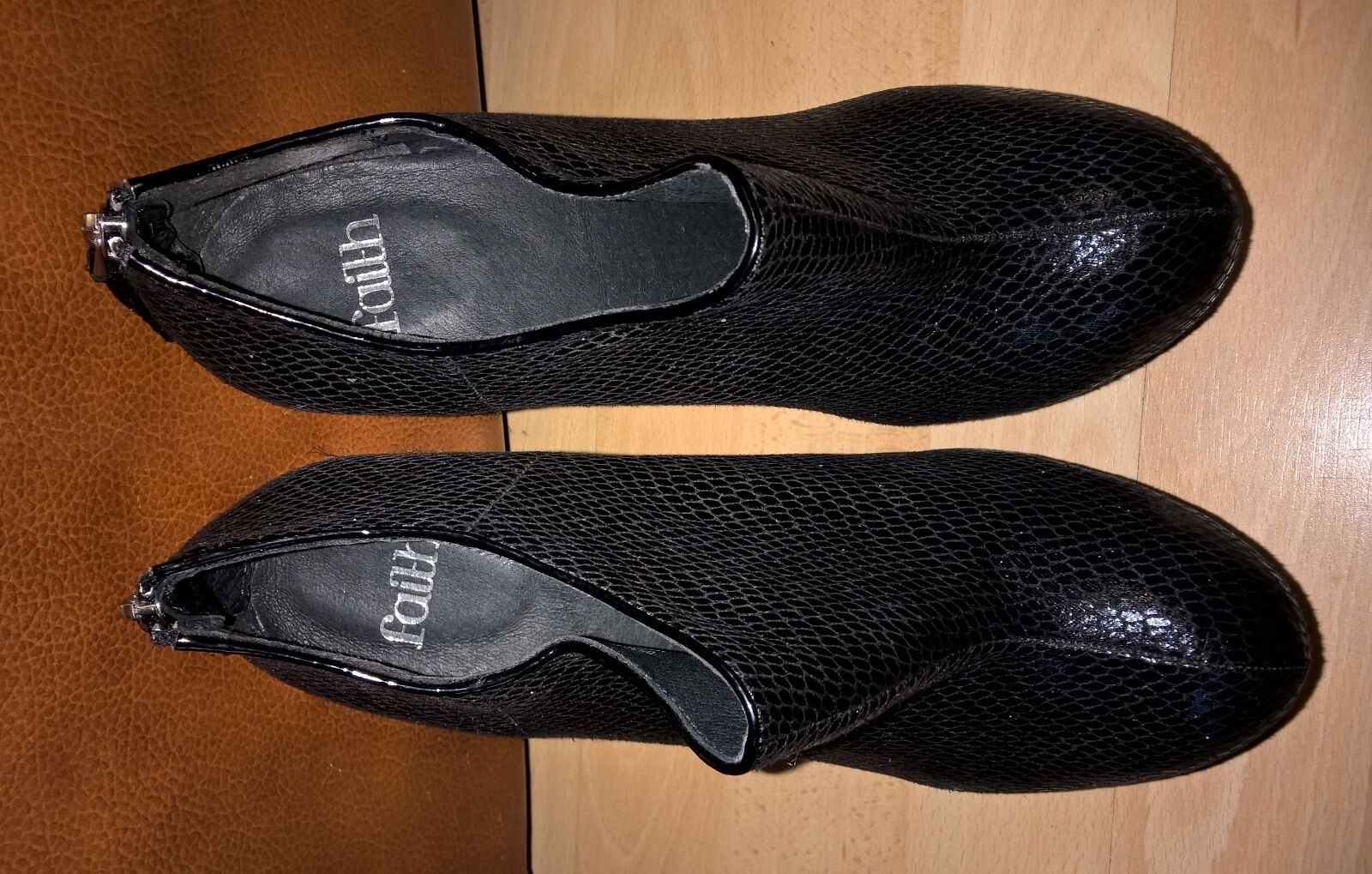 Ladies Faith Black Boot Shoes wit Snake skin Effect Size 7/40 *NWT rrp£58.00
