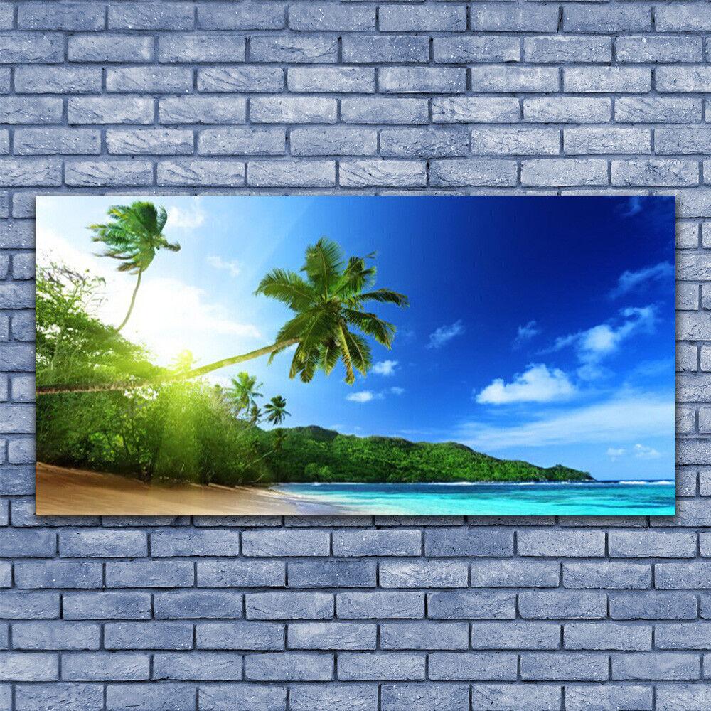 Glasbilder Wandbild Druck auf Glas 140x70 Strand Meer Palmen Landschaft