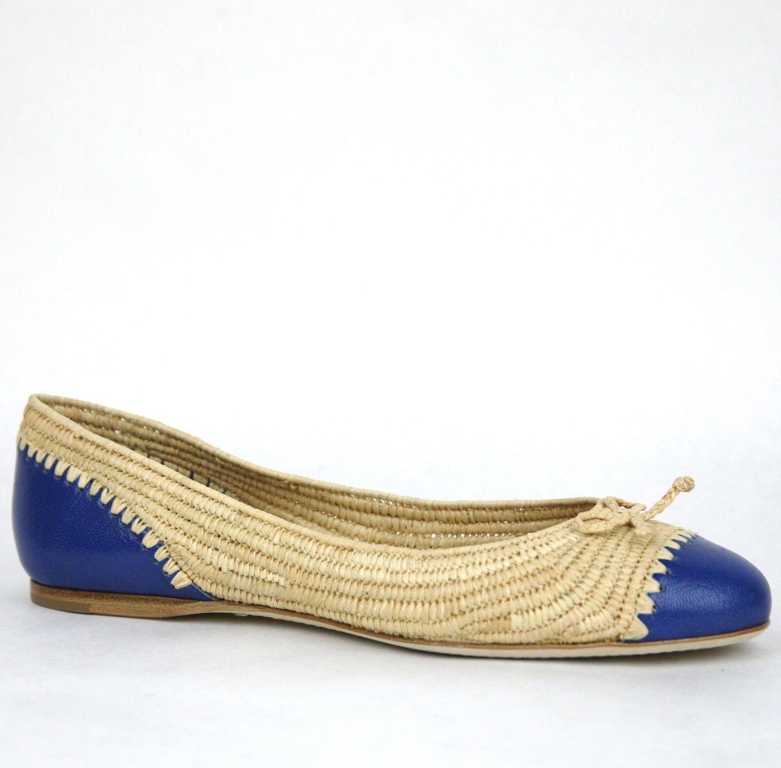 780 Bottega Veneta Straw Leather Ballet Flat w Bow Beige bluee 37.5 338295 9870