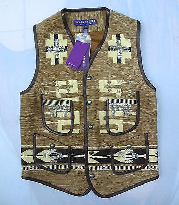 Ralph Lauren Collection PURPLE LABEL Serape Leather & Metal Trim Indian Vest S