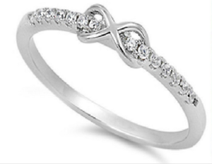 afa6451857b08 Details about Sterling Silver 925 INFINITY KNOT DESIGN CLEAR CZ PROMISE  RING 3MM SIZES 2-13
