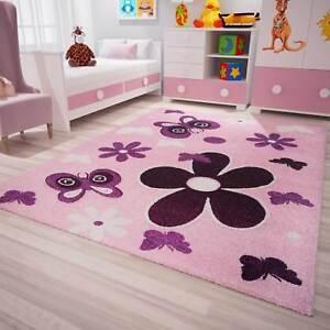 Détails sur Enfants Tapis moderne chambre enfant étoiles Fleurs Papillons  En Rose Violet- afficher le titre d\'origine