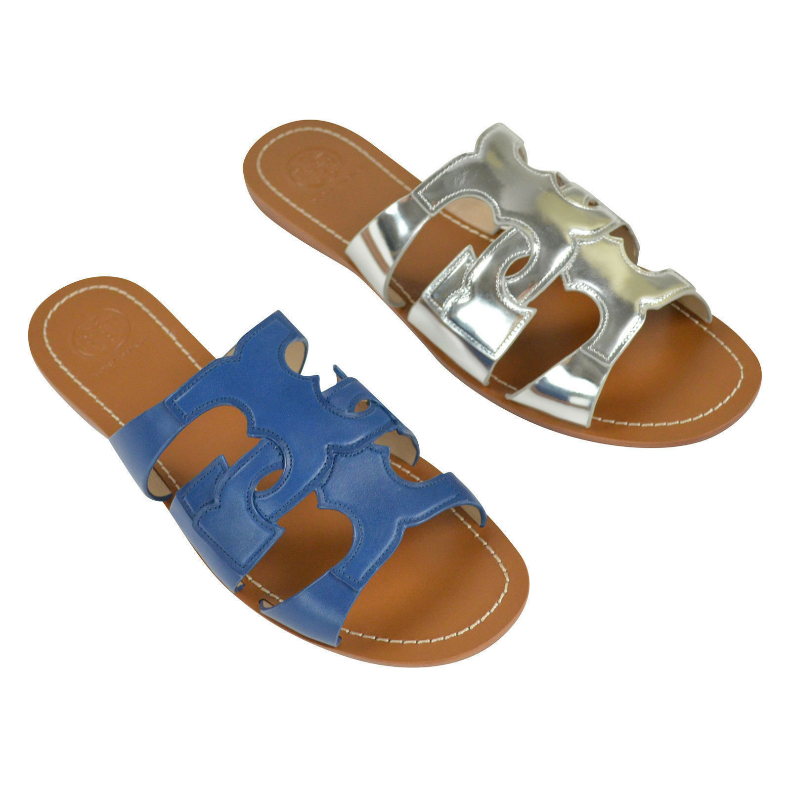 NIB Tory Burch Anchor T Flat Slide Leather Sandals Baltic 8-9