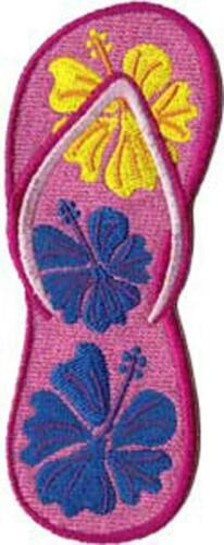 Floral Hawaiian 139-E Tropical Hibiscus Sandal Embroidered Iron On Patch