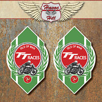ISLE OF MAN TT Races Stickers x2 70X44mm classic motorbike motorsport decals