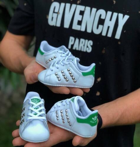 Adidas Orginals Stan Smith neonato neonata culla borchiate custom verde