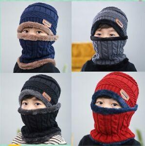 d7be16dd76d Winter Warm Knitted Crochet Beanie Hat Cap Scarf Set Baby Toddler ...