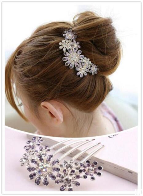 HO US Women Beauty Crystal Rhinestone Petal Tuck Comb Flower Hair Pin Hair Clip
