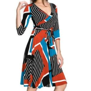 Womens-Janette-Fashion-Blue-Rust-Faux-Wrap-Knee-Length-3-4-Sleeve-Dress-SMALL