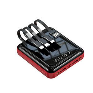 20000mAh Powerbank 18W Mini mit 4USB Ladekabel Externer Akku für iPhone Samsung