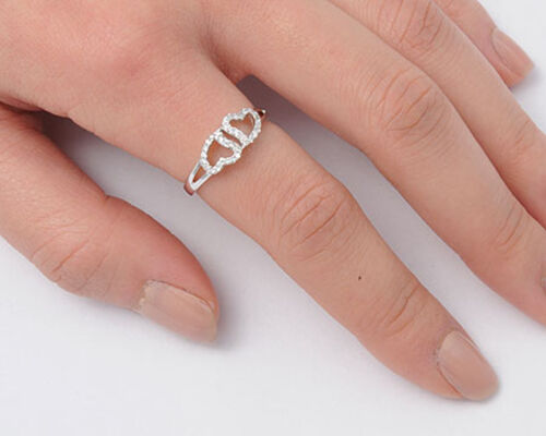 Double Heart Friendship White CZ Promise Ring New 925 Sterling Silver Sizes 4-11