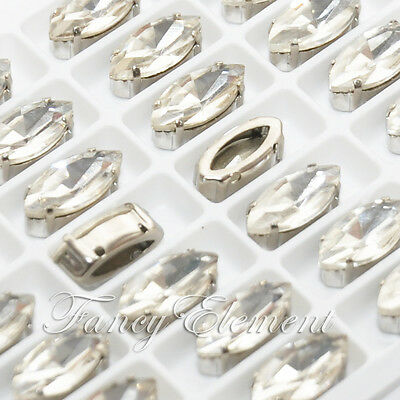 42pc Glass Navette 4200 Clear 15x7mm Crystal Metal Plate Sew On Rhinestone Beads