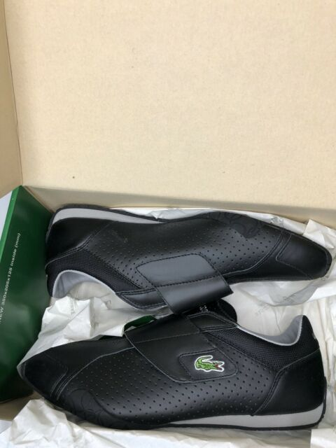 Lacoste Sport Mens Radius Punched Black Leather Sneakers Shoes Brand New-Size 12