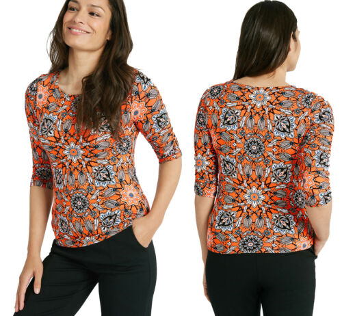 Marks /& Spencer Womens Mosaic Print Round Neck 3//4 Sleeve New M/&S T Shirt Top