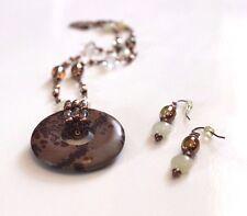 Lia Sophia PRESTO Necklace + Earrings SET Genuine Jasper Gemstone Copper Glass