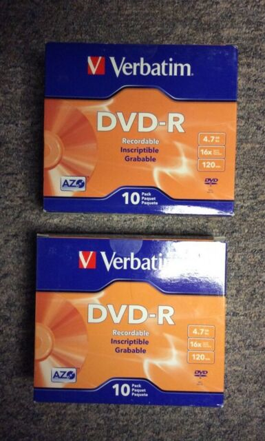 Verbatim AZO DVD-R 4.7GB 16X with Branded Surface - 10pk 95099 - 2 Boxes Of 10!!