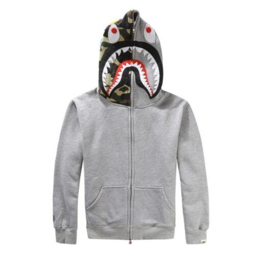A Bathing Ape Bape Jacket SHARK Head Camo FULL ZIP HOODIE Long Sleeve Coat New