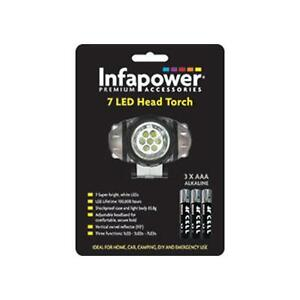 Infapower F012 7 Super Bright LED Shockproof Head Torch Batteries Included - New