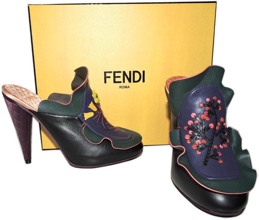 1,550 Fendi EmbroideROT Ruffles Mule Clogs Floral Waived  Leder Clogs Mule schuhe Heels 37 8ee232