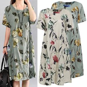 AU-8-26-Women-Vintage-Sundress-Short-Sleeve-Loose-Cotton-Linen-Floral-Midi-Dress