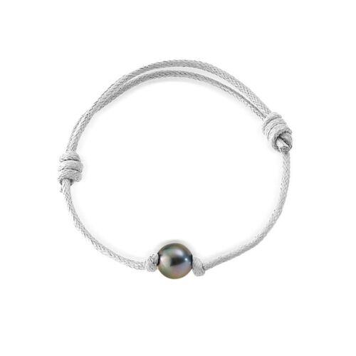 Bracelet Ajustable Homme Femme Perle de Tahiti 10 mm et Coton Ciré Blanc