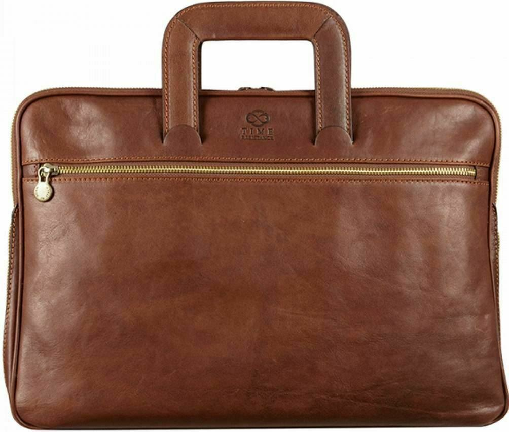 Brown LB1 High Performance Leather Unisex Business Messenger Bag Briefcase Bag for Asus P43e-xh51 141-inch Screen Laptop