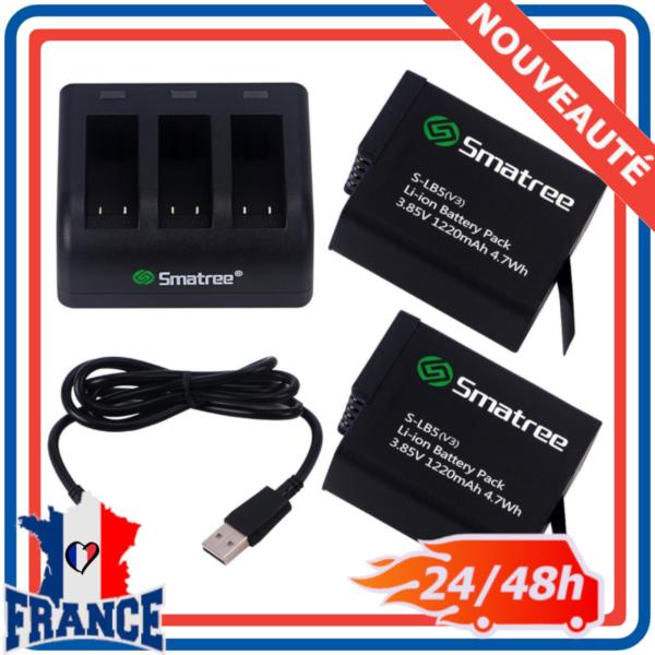 2 Batteries + Chargeur Usb 3 Canaux Pour Caméra Action Gopro Hero 7 6 5 Black Fr
